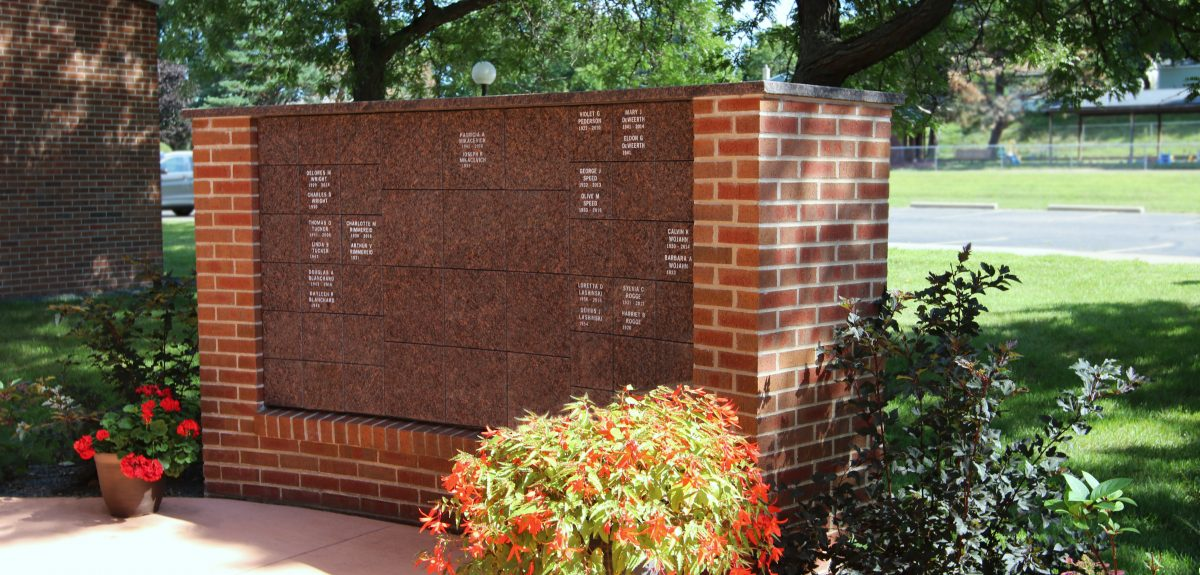 Custom Exterior Curved Wall Columbarium - Church