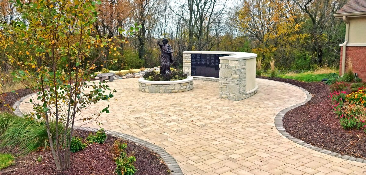 Madison, WI Custom Exterior Radiused Front Columbarium 1