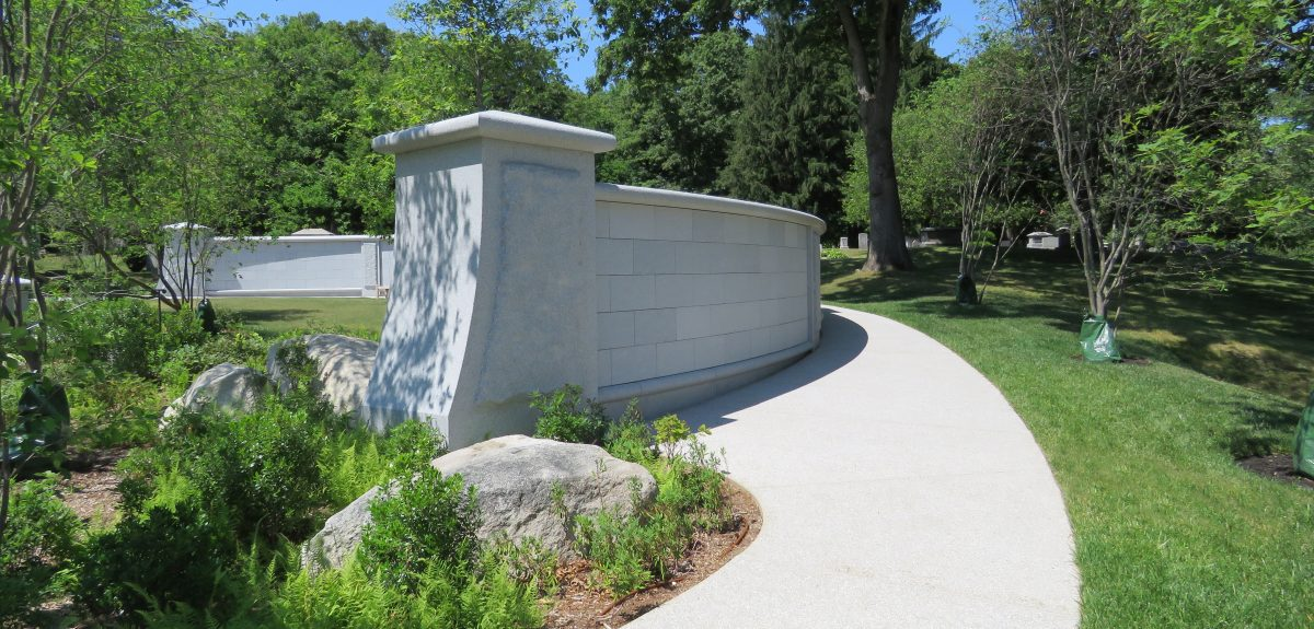 Custom Exterior Curved Wall Columbarium - Cemetery