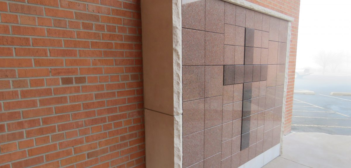 Exterior Custom Wall Columbaria Raised Cross - Church