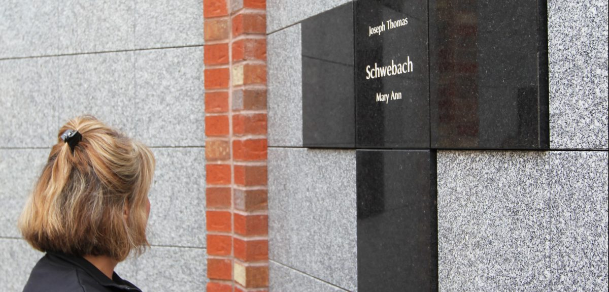 Exterior Custom Wall Columbaria Raised Cross - Cemetery