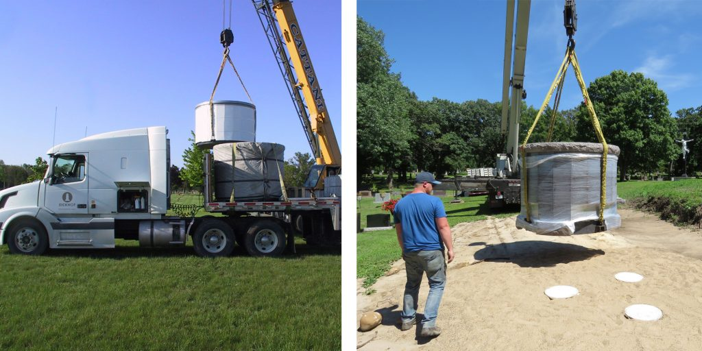 A Pre-Assembled columbarium being delivered and installed.