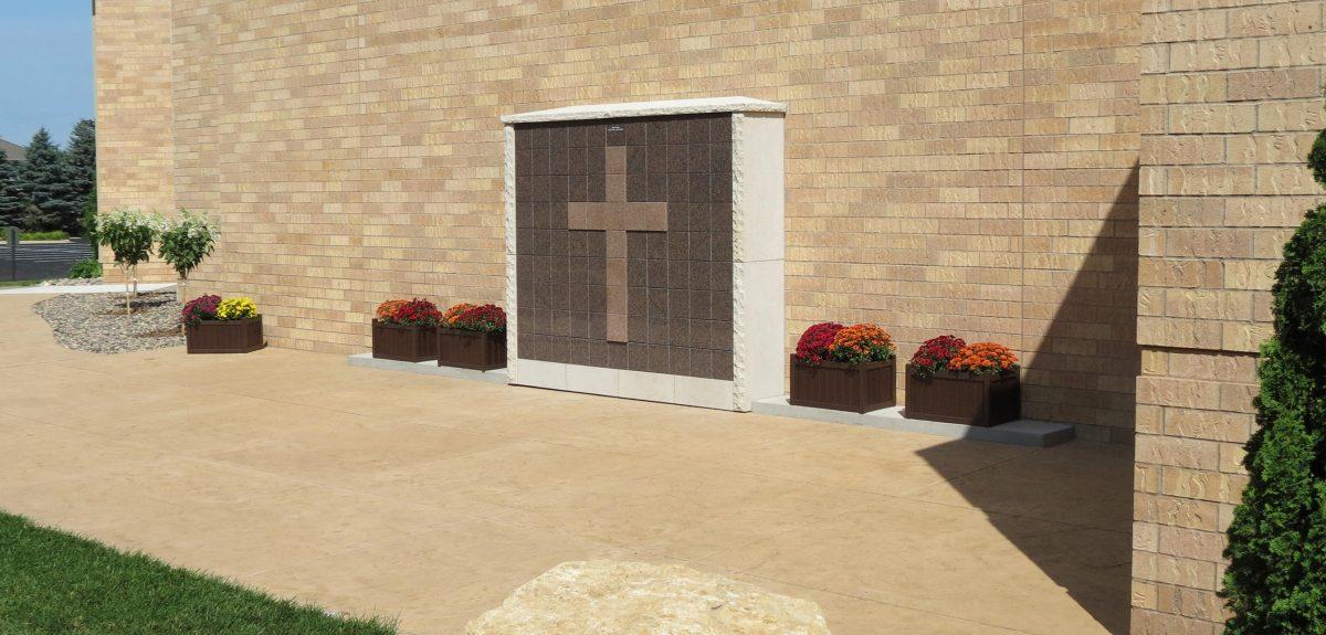 Exterior Custom Wall Columbaria Raised Cross - Church