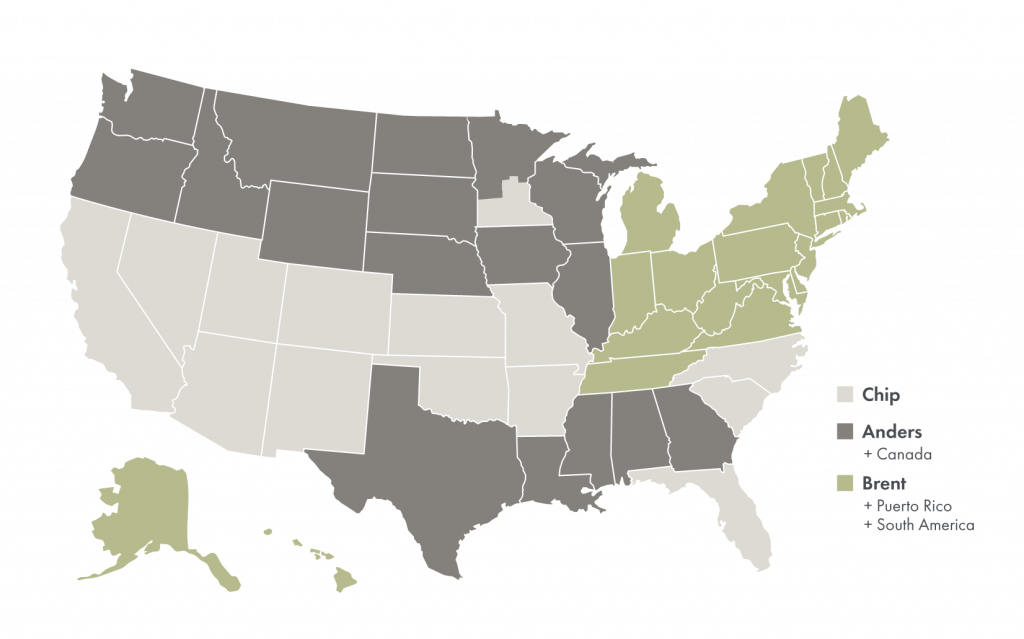 Map of the United States depicting the states that each sales team member is representing.