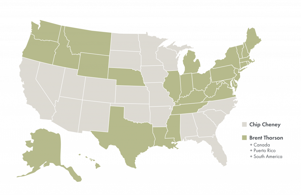 Map of the United States depicting the states that each Client Guide represents.